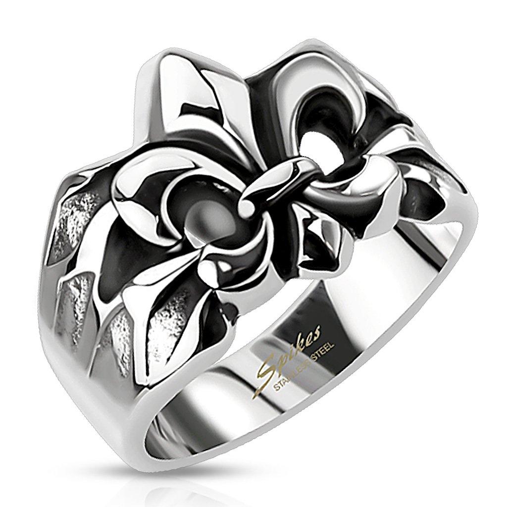 Autiga - Bague chevaliè re en acier inoxydable pour homme, avec fleur de lys, anneau maç onnique anneau maçonnique m7962