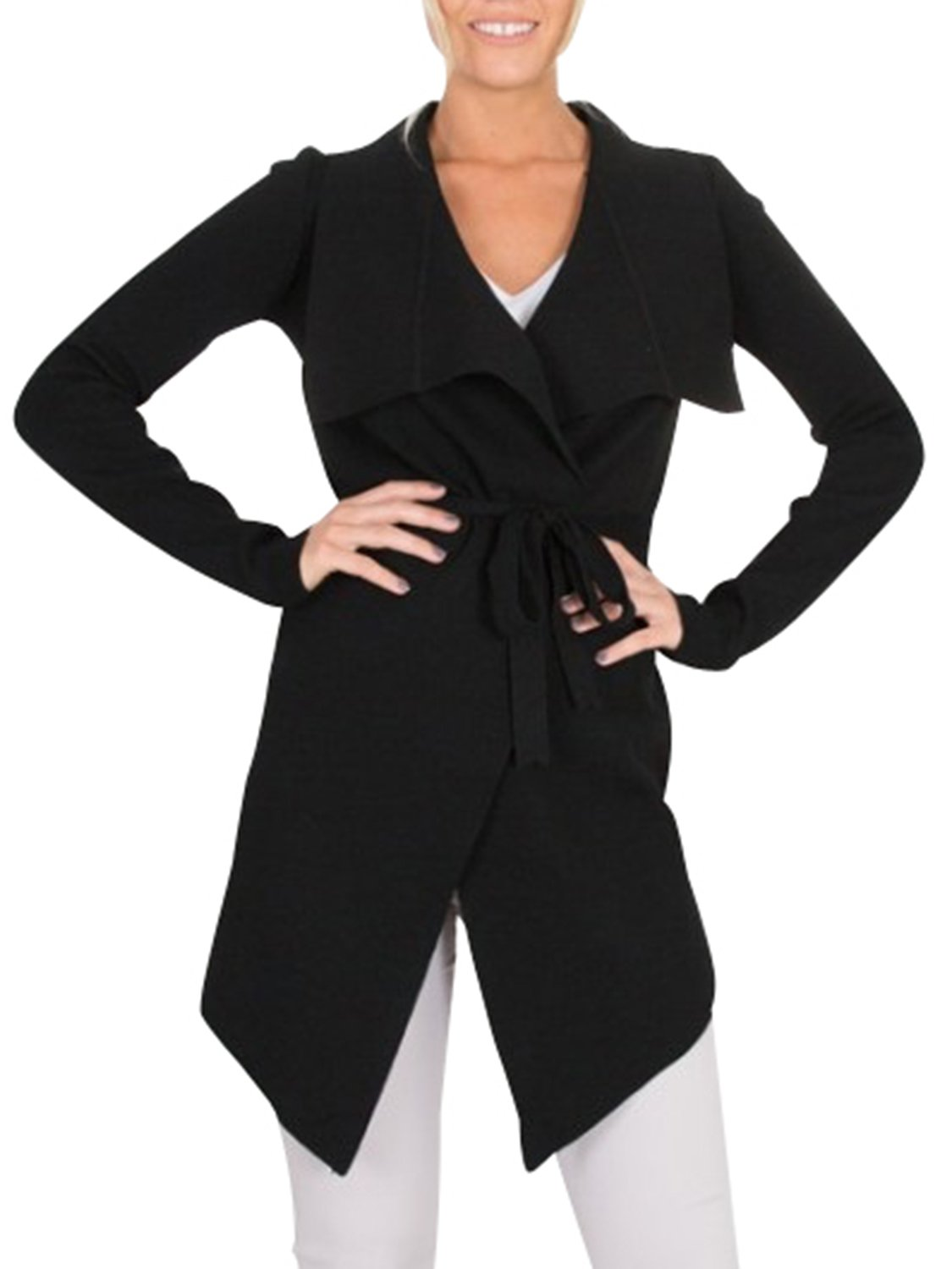 BerryGo Women's Lapel Knitted Open Front Waterfall Belted Trench Coat Cardigan Black,One Size