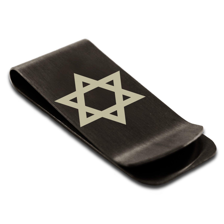 Stainless Steel Hexagram Star of David Symbol Slim Wallet Cash Card Money Clip