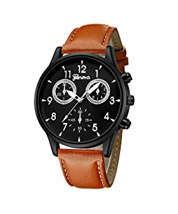 Copelsie Men's Simple Analog Watch Faux Leather Quartz Watches Sport Business Watch Xmas Gift
