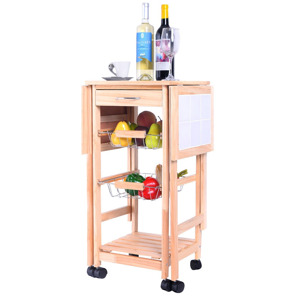 PROSPERLY U.S.Product Portable Rolling Wood Kitchen Trolley Cart Drop Leaf Storage Drawers Rack Basket by Prosperly (Image #4)