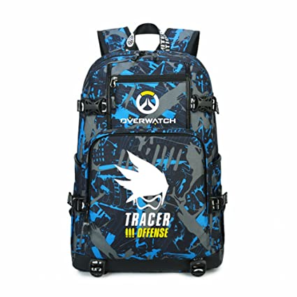 35e4946a3fa6 YOURNELO Unisex Leisure Overwatch High Capacity Canvas School Backpack  Bookbag (I Tracer)