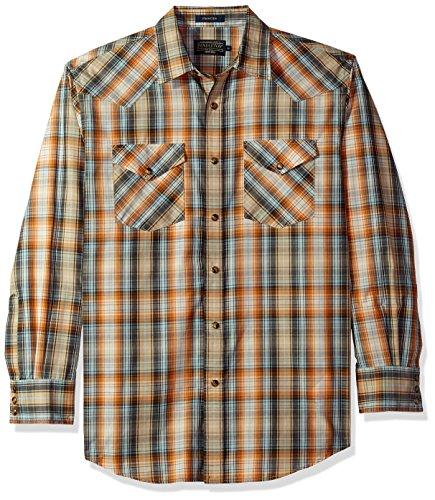 American Classic Orange Light - Pendleton Men's Long Sleeve Button Front Classic-fit Frontier Shirt, Orange/Light Blue Plaid, SM
