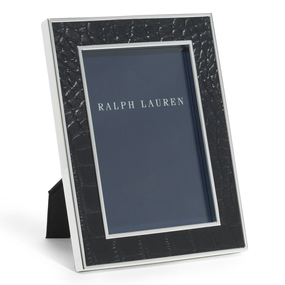Ralph Lauren Chapman 5 x 7 Black Alligator Embossed Leather Picture Frame