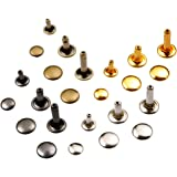 Lynda Leather Rivets 240 pcs Double Cap Rivet Fasteners- 3 Sizes/4 Colors Rivet Snap Buttons for DIY and Leather Crafts/Repairs/Decorations