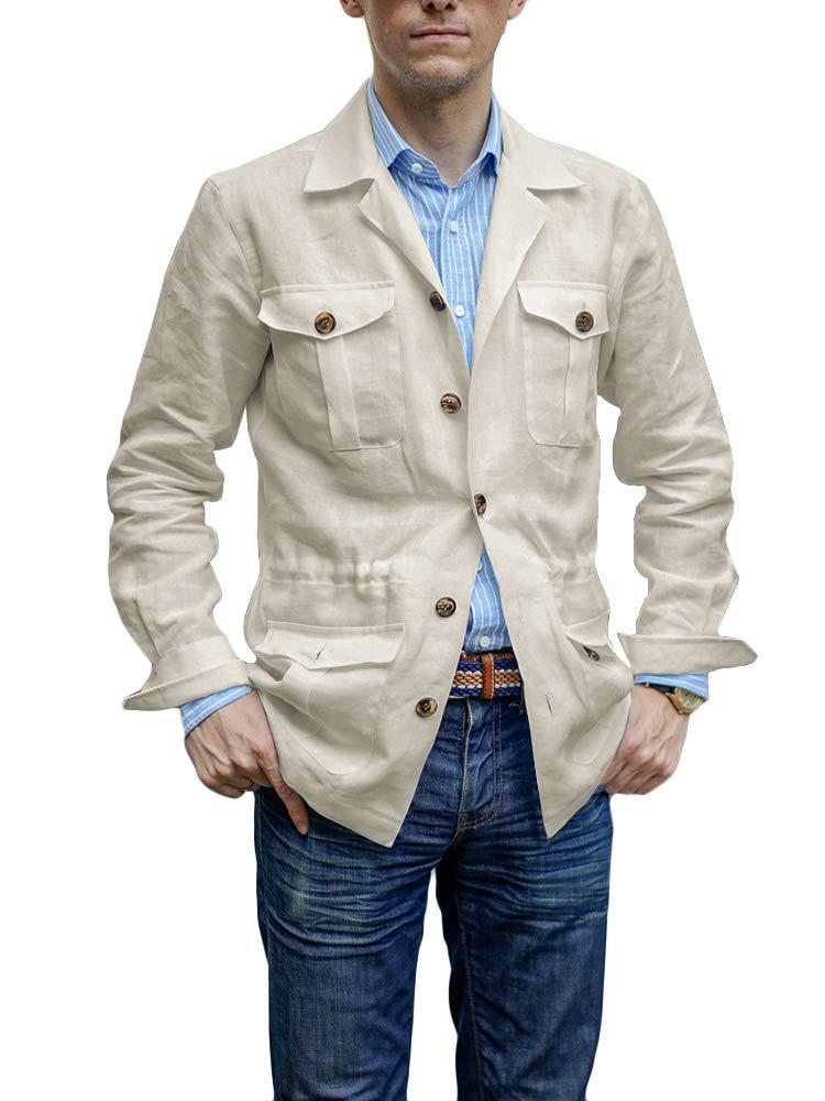 Mens Linen Lightweight Safari Jacket Long Sleeve Regular Fit Solid Safari Blazer Jacket by Makkrom