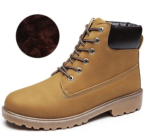 AILU Botas Mujer Planas Invierno Botines Zapatos Forro Cálido Zapatos de Nieve Combat Boot Work Boots: Amazon.es: Zapatos y complementos