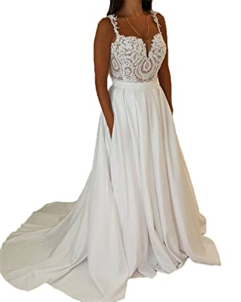a8dd4346e0 Libaosha Lace Appliqued Spaghetti Straps Bridal Gowns With Pockets Wedding  Dresses at Amazon Women s Clothing store