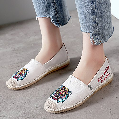 Monrinda Womens Loafer Flats Canvas Slip On Espadrilles Shoes Low-top Classics Casual Walking Sneakers White BKr9JpnSs