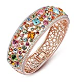 """Qianse """"Party Queen"""" Rose Gold Plated Bangle Bracelet with Multicolor Austrian Preciosa Crystals"""