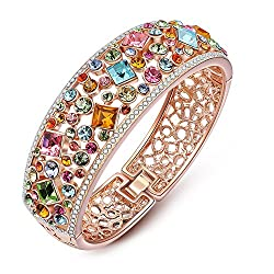 Rose Gold Plated Bangle with Multicolor Crystals