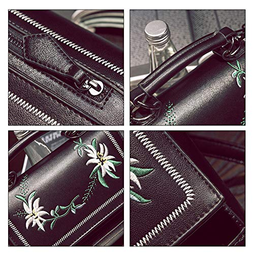 Para Diseño Bandolera Bordado Black Bolsos Embrague Mensajero Bolso Wu De Moda Zhi Mujer n1xp44