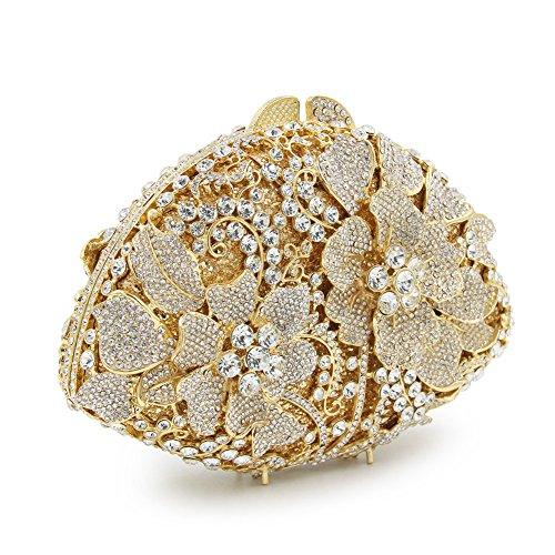 Flada de lujo de las mujeres rhinestones Flabellate noche embrague hueco flor bolso de la boda plata Azul