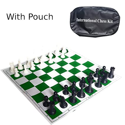 Sesion 17 x 17 Tournament Chess Vinyl Foldable Chess Game with Solid Plastic Pieces - Ideal for Professional Chess Players (with Pouch)
