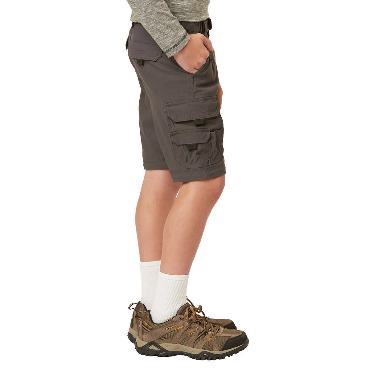 UNIONBAY Boy's Youth Convertible Lightweight Comfort Stretch Cargo Pants/Shorts (X-Small (5/6), Charcoal) by UNIONBAY (Image #6)
