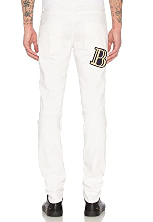 a738929fcb3 Pierre Balmain Biker Jeans with B Logo Pocket, Off White ($725) at ...