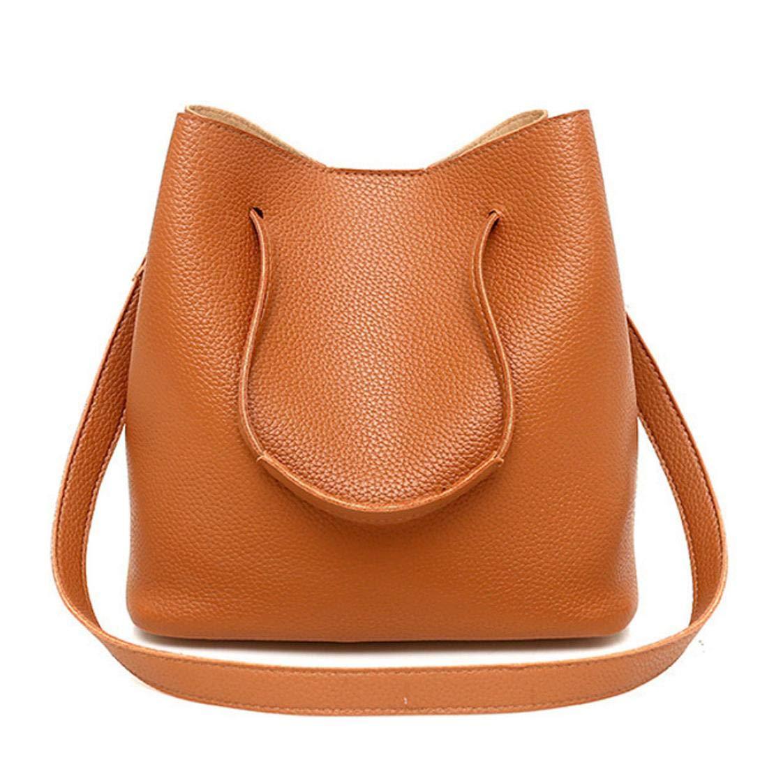 49e8ab9e0c Amazon.com  Elogoog Fashion Women s Satchel PU Leather Handbag+Shoulder Bag+ Purse+Card Holder 4pcs Set Tote (Black)  Sports   Outdoors