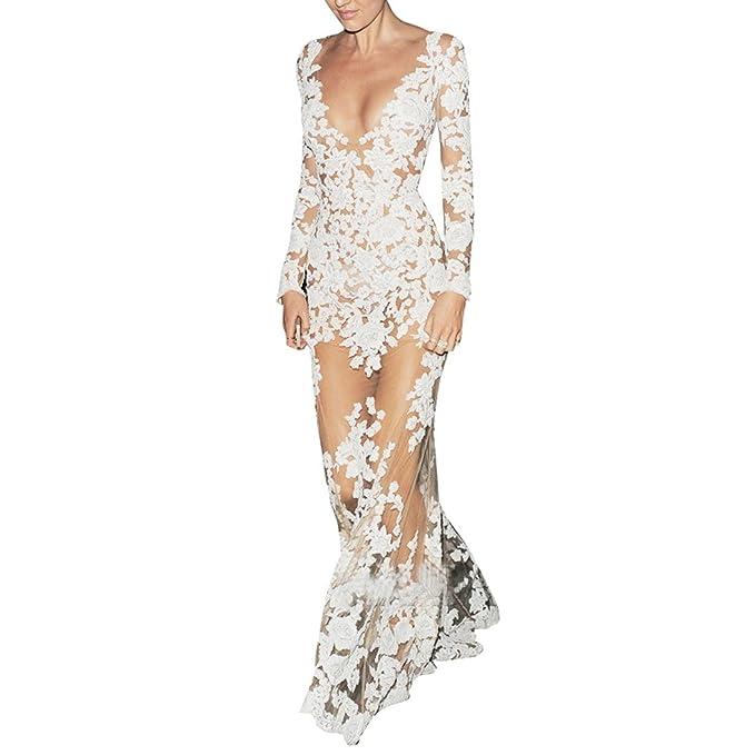 Qiyun 3008S0828 - Vestido para Mujer, Color Blanco, Talla S