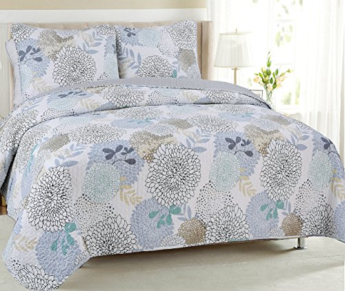 Cozy Line Home Fashions Nina Trista Flowers Aqua Blue Turquoise Grey Floral Print Pattern Quilt Bedding Set, Reversible Cotton Bedspread Coverlet, Gifts for Women Men (Aqua Blue, King - 3 Piece)