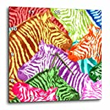 3D Rose Colorful Pattern Zebra Africa Nature Red Yellow Green Purple Wall Clock, 13'' x 13''