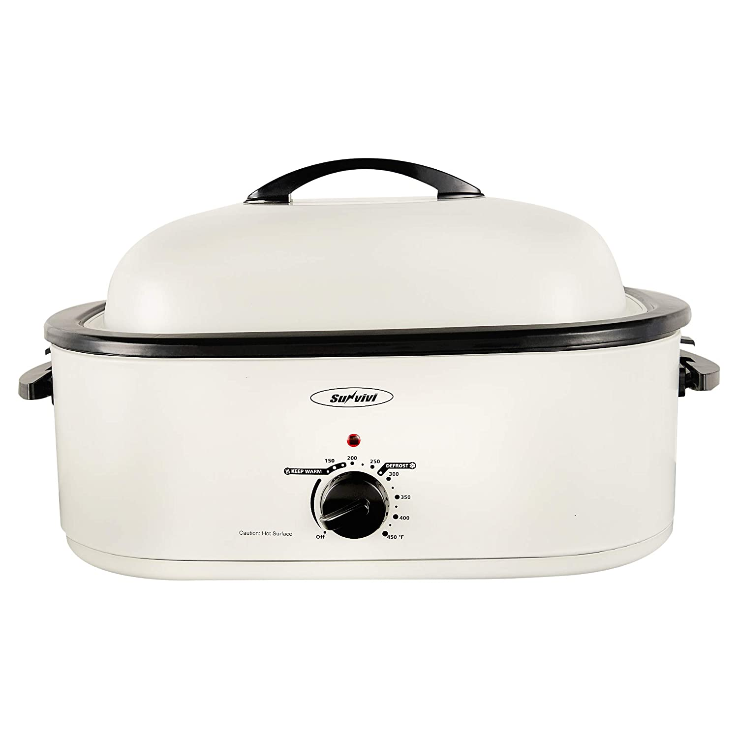 Sunvivi Electric Roaster Oven with Self-Basting Lid, 18-Quart,Removable Insert Pot, Full-range Temperature Control and Cool-Touch Handles, White Body and Lid