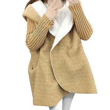 Abrigo de manga larga mujer mujeres Oversized Jersey para chaqueta de punto Cordero con capucha Outwear - Chaqueta Abrigo de invierno Sudadera, mujer, ...