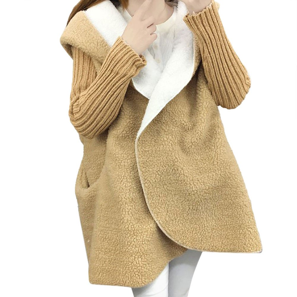 Wool Coat,Kulywon Women Long Sleeve Oversized Loose Knitted Sweater Cardigan Lamb Hooded Coat