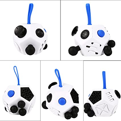 Aoile 12 Sided Fidget Cube Psychological Hint Gadget Anxiety And Boredom For Children Adults White