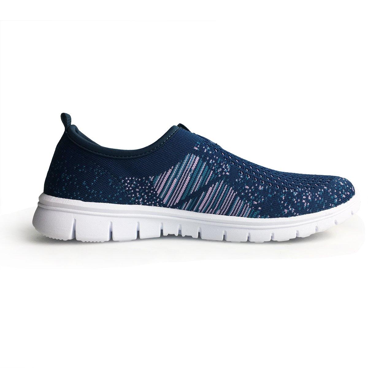 XiaoYouYu Soft Sole Women\'s Flyknit Slip On Walking Shoes Fashion Lightweight Running Sneakers AAX001 Blue, 9.5 B(M) US