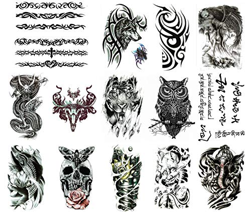 (Himoc Temporary Tattoos Stickers 15 Sheets,Sleeves Tattoo Fake Body|Arm|Shoulder|Chest Tattoos for Men|Women)