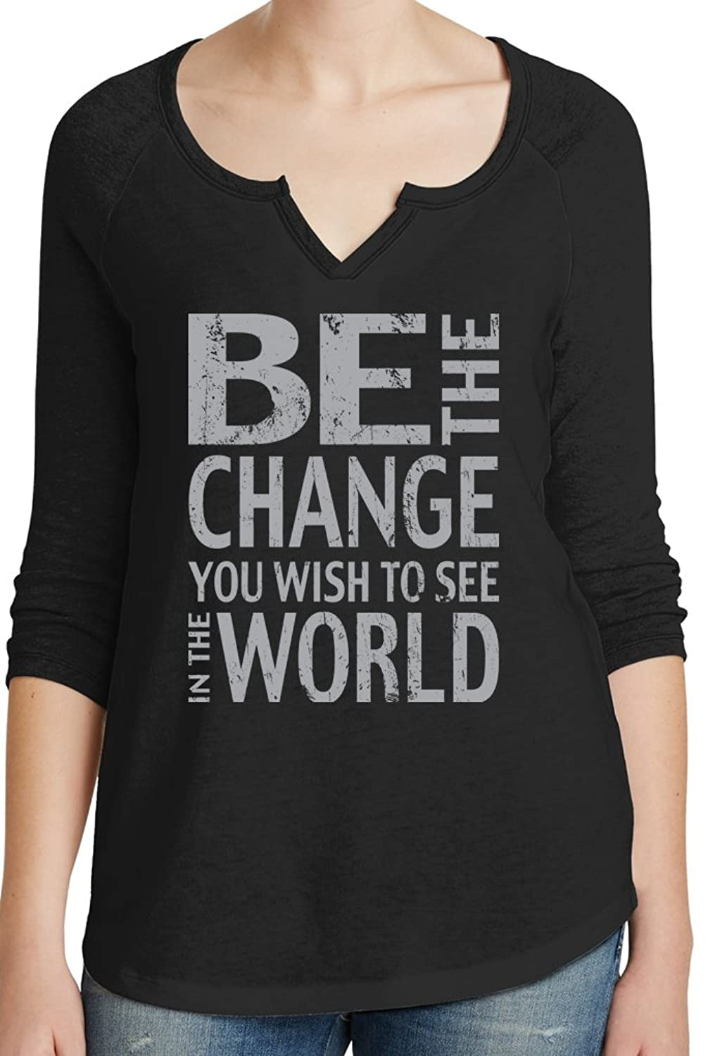 "Yoga Clothing For You Ladies ""Be the Change"" V-notched Tee"