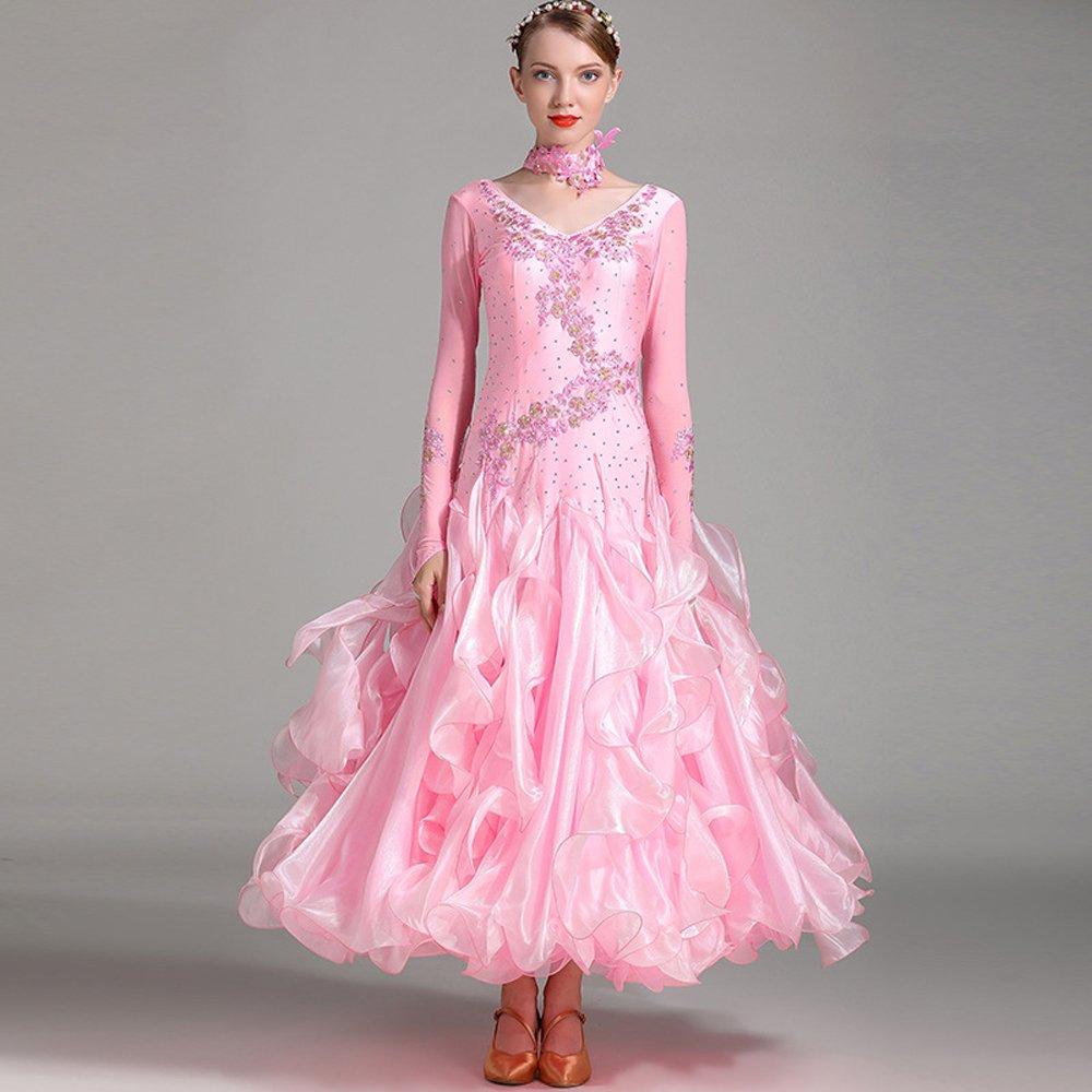 モダンな女性の大きな振り子手刺繍モダンダンスドレスストラップタンゴとワルツダンスドレスダンスコンペティションスカート長袖ラインストーンダンスコスチューム B07HHWPBYR Large|Pink Pink Large