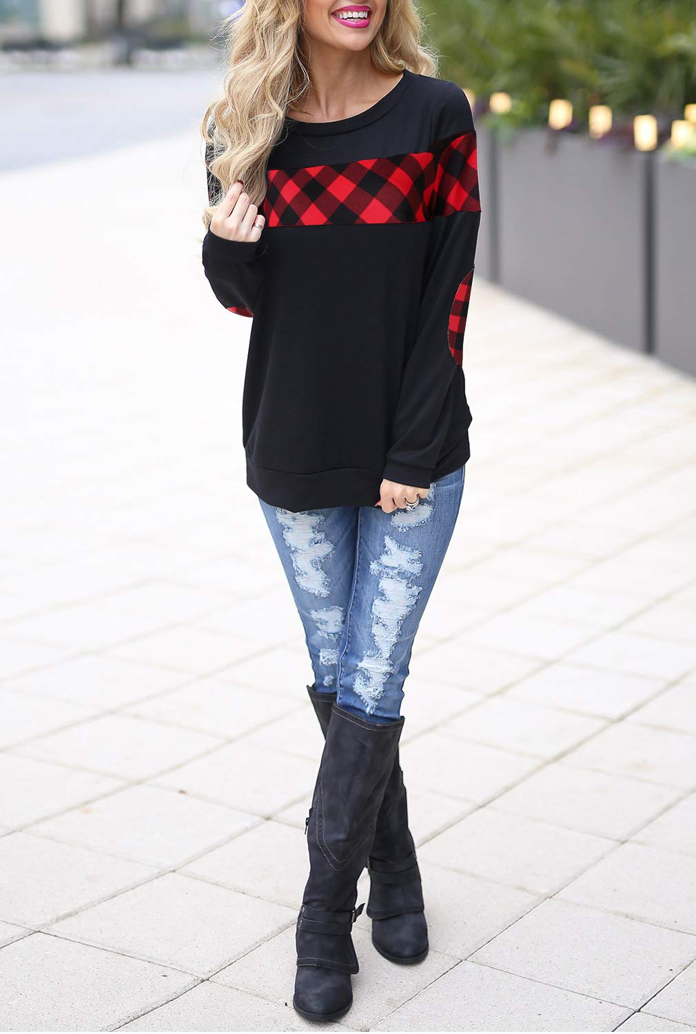 Blooming Jelly Women\'s Crewneck Sweatshirt Colorblock Plaid Shirt Elbow Patches Pullover Top(L) Black