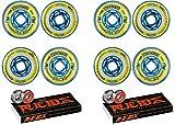 Revision Wheels Inline Roller Hockey Flex Firm Blu 80mm 8-Pack w/Bones Bearings