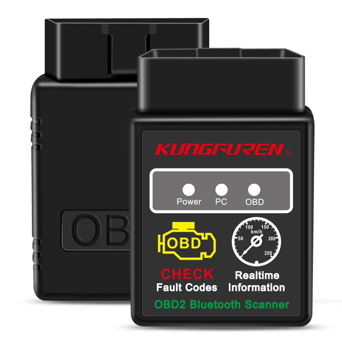 kungfuren OBD2 Bluetooth Scanner, OBD 2 Reader Car OBD Diagnostic Scanner Fault Code OBD ii OBD-ii Reader Tool Compatible with Android & Windows Devices Weipao EU Direct