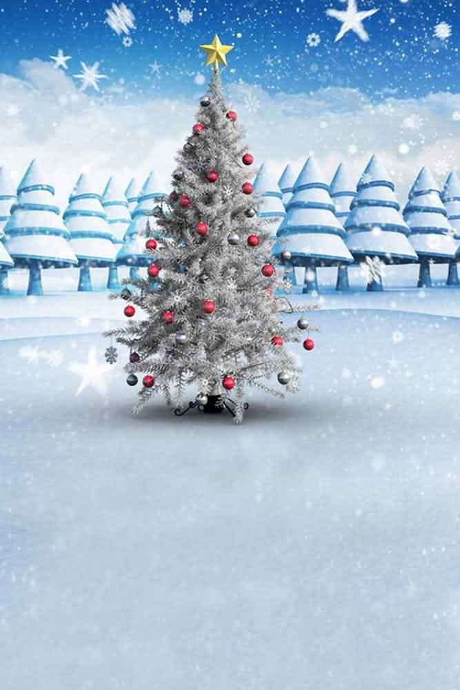 GladsBuy Snowy Christmas Tree 8 x 12 Computer Printed Photography Backdrop Christmas Theme Background ST-040