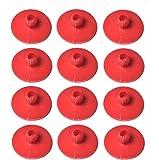 "12 Pcs 1 3/4"" Inch Leaf Spring End Tip Wear Pad Anti Squeak Insert Silencer Plastic Block Round Red"