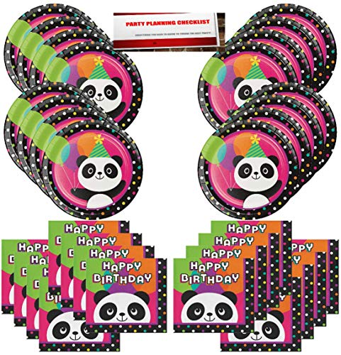 Panda Bear Birthday Party Supplies Bundle Pack for 16 Guests (Plus Party Planning Checklist by Mikes Super Store) ()