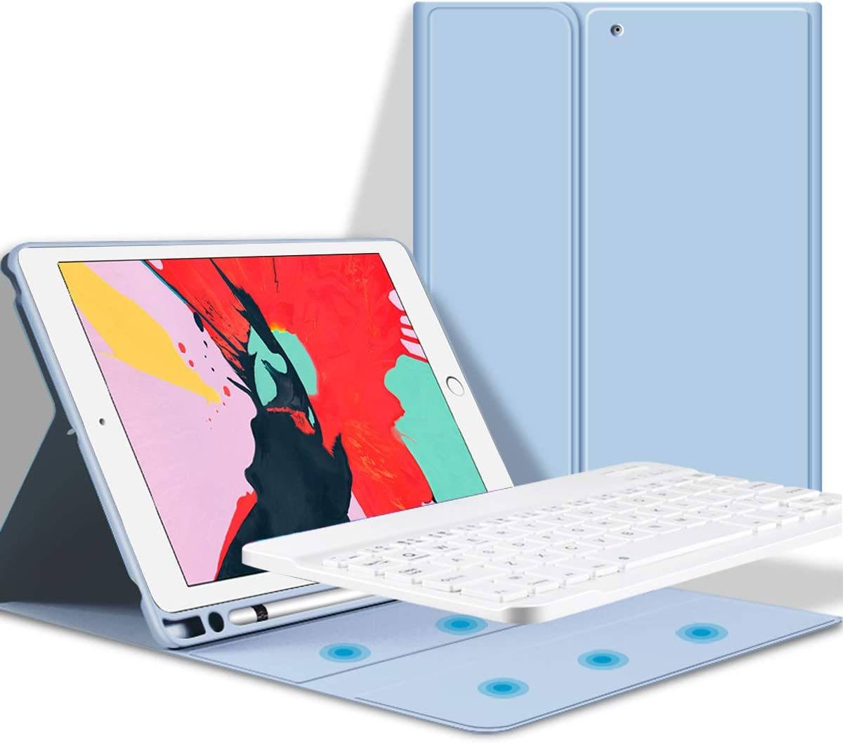 KenKe Keyboard Case for iPad 10.2, iPad 7th Generation 2019 iPad 8th Generation 2020 case with Pencil Holder Detachable Wireless Bluetooth Keyboard Cover for iPad 7th / 8th Gen 10.2 inch-(White ice)