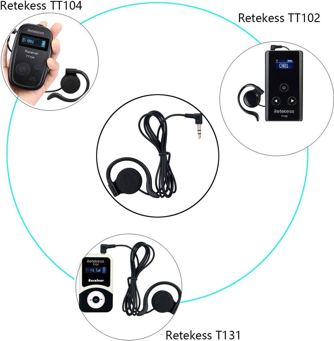 Retekess Sistema di Guida Turistica Auricolare Compatibile con wireless Sistema di Guida Turistica Ricevitore 3.5mm Standard Spina per Chiesa Guida Traduzione Sistema