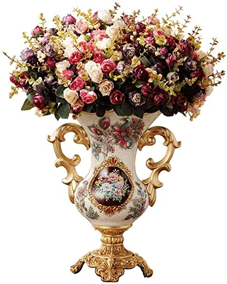 Hjhjk European Style Retro Resin Large Vase For Living Dining Room Table Centerpiece Bedroom Office Hotel Home Decoration Amazon Ca Home Kitchen