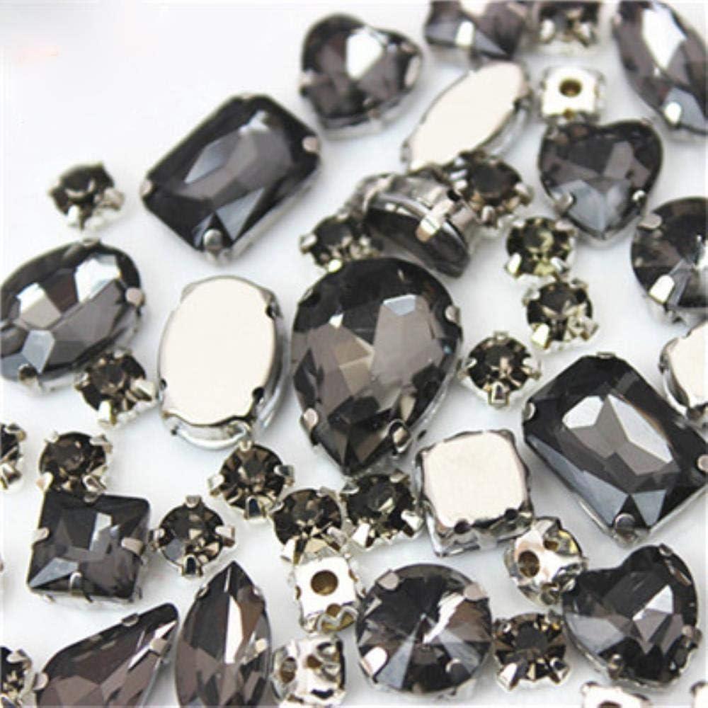 Juego de 50 piedras de cristal para coser con forma de diamante de imitaci/ón Mix Size 50pcs Deep Purple ZZ1000