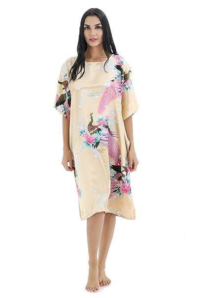 Las mujeres pijamas de satén suave Bohemia ropa de dormir camisón vestido de dormir