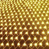 10x6.5Ft 320 LED Net Lights Indoor String Lights Party Christmas Xmas Wedding Home Garden Decorations 8 Modes for Flashing(Warm White)