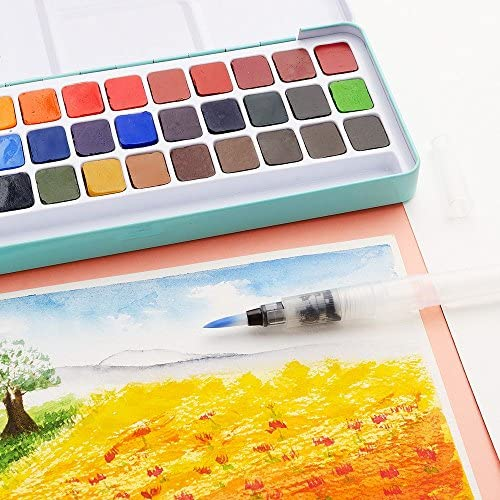 """MeiLiang Paint Finishes Watercolor Set 36 Vivid Colors Pocket Box With Metal /"""""""