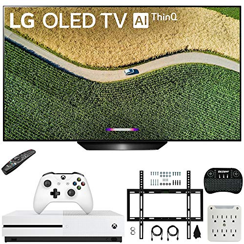 LG OLED65B9PUA B9 65″ 4K HDR Smart OLED TV with AI ThinQ (2019) Bundle with Microsoft Xbox One S 1TB Console, Flat Wall Mount Kit, Wireless Keyboard and 6-Outlet Surge Adapter with Night Light