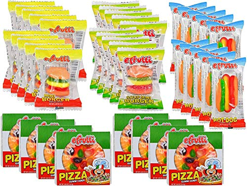 eFrutti Gummi Candy Variety Party Set: 8 Pizzas, 10 Mini Burgers, 10 Sour Mini Burgers, 10 Hotdogs (38 total)