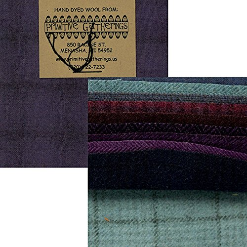 Primitive Gatherings Hand Dyed Wool Purples Charm Pack 10 5-inch Squares PRI 6003 by Primitive Gatherings