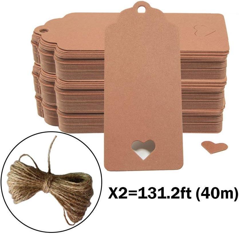 100pc Hollow corazón Kraft etiquetas de papel, crivers 1,6 x 3,5 pulgadas etiquetas de regalo con libre 65.6 Pies Naturales Yute Twine para Navidad boda Favor regalo, color marrón
