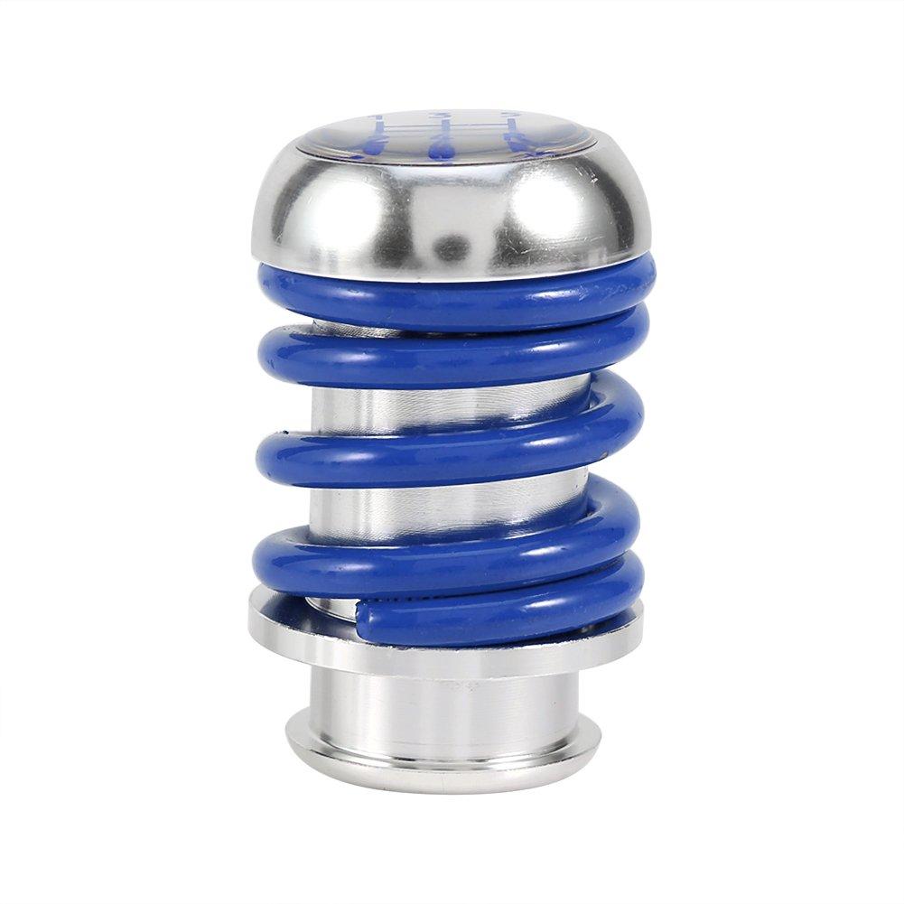 Qiilu Universal 5 Speed Manual Car Gear Shifter Stick Shift Knob Lever Aluminum Spring Blue